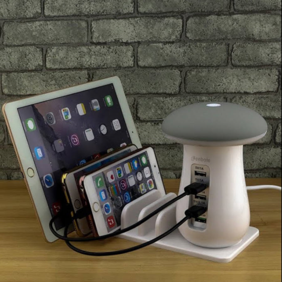 Többfunkciós töltő 3 in 1 bölcső telefontartóval, lámpával és 5 USB porttal okostelefonokhoz és táblagépekhez