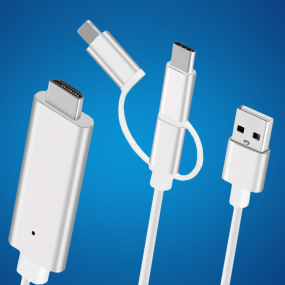 3 in 1 HDMI átalakító, Lightning + USB + USB type-C + micro-USB