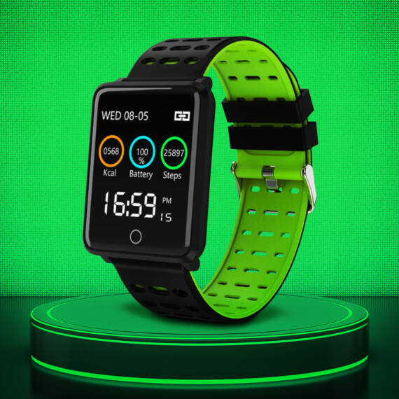 F3 Okosóra pulzusmérő, vérnyomásmérő, kalóriaszámláló funkcióval zöld